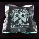 Ice Block Glass Coaster Engraved with Family Crest ref IBC1